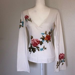 Johnny Was Cream with Embroidered Flowers M
